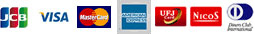 JCB、VISA、MasterCard、AMERICAN EXPRESS、代金引換、UFJダイレクト、NICOS、Diners Club